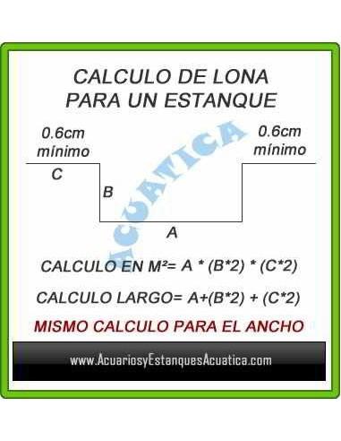 LONA PARA ESTANQUE PVC 0.5mm 6X6M