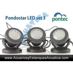 PONTEC PONDOSTAR LED SET 3 FOCOS SUMERGIBLE ILUMINACION ESTANQUE